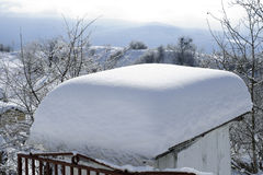 White snow on roof Stock Photo