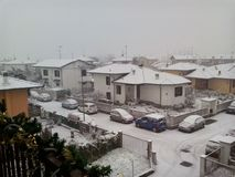 White snow...White city. View of White Street from my home...snow on the car and houses Stock Images