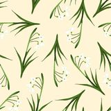 White Snowdrop Seamless on Beige Ivory Background. Vector Illustration.  Stock Image