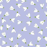 White Snowdrop Seamless on Light Purple Background. Vector Illustration.  Stock Illustration