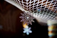 Snowflake on black background royalty free stock photography