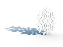 White snowflake with blue shadow Royalty Free Stock Photo