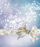 White Snowflake Bow and Ribbon Stock Photography
