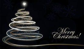 White snowflake Christmas tree on dark background with text. White snowflake Christmas tree on dark background. Xmas card Royalty Free Stock Images