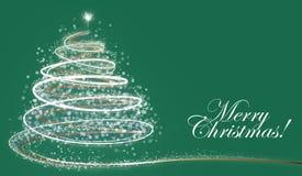 White snowflake Christmas tree on dark background with text. White snowflake Christmas tree on dark background. Xmas card Royalty Free Stock Image