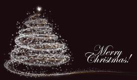 White snowflake Christmas tree on dark background with text Royalty Free Stock Photo