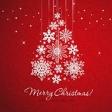 White snowflake Christmas tree on red background. Christmas vector card Stock Image