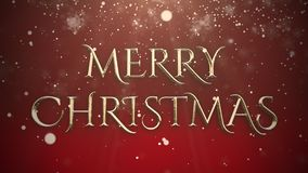 White snowflake falling and animated closeup Merry Christmas text on shiny. Red background. Luxury and elegant dynamic style template for winter holiday stock video