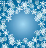 White snowflake frame on blue. Background Royalty Free Stock Images
