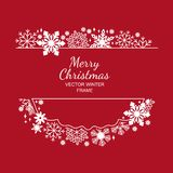 White snowflake frame, red background, framework. White snowflake frame, decoration on red background, Christmas design for invitation, greeting card or postcard Stock Photography