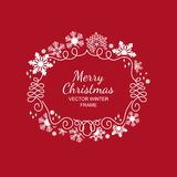 White snowflake frame, red background, Xmas. White snowflake frame, festive decoration on red background, Christmas design for invitation, greeting card or Royalty Free Stock Photos