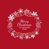 White snowflake frame, red background, Xmas Royalty Free Stock Photos