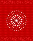 Snowflake icon over red background. Xmas cover design. White snowflake icon over red background. Xmas cover design. Festive background with dots and stars royalty free illustration