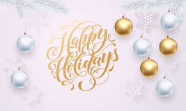 White snowflake pattern golden decoration ornament winter Happy Holidays greeting Stock Photo