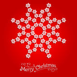 White snowflake on red background. Big holiday snowflake. Design for card, banner, invitation, leaflet and so on Stock Photography