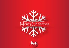 White snowflake on red background. Christmas vector illustration 3d paper art style Royalty Free Stock Photography