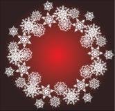 White snowflake round frame Royalty Free Stock Image
