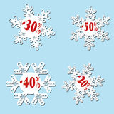 White snowflake sale with red percentage Stock Image