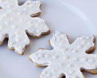 White Snowflake Sugar Cookies Royalty Free Stock Photo