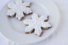 White Snowflake Sugar Cookies Royalty Free Stock Photography