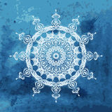 white snowflake on watercolor background Stock Photos
