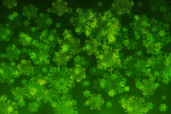 White snowflakes on an abstract green background. Illustration Royalty Free Stock Photos