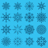 White snowflakes big set of different variations on azure backgr Royalty Free Stock Photography