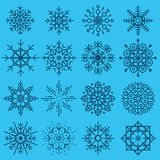 White snowflakes big set of different variations on azure backgr Royalty Free Stock Image