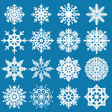 White snowflakes big set of different variations on blue backgro Stock Image