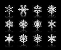White snowflakes  on  black background Stock Photography