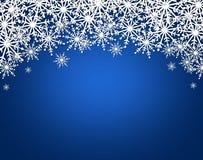 Christmas illustration,. White snowflakes on blue  background Royalty Free Stock Photo