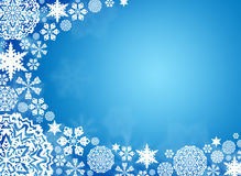 White snowflakes on a blue background Stock Photo