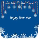 White snowflakes on blue background. Christmas flyer and winter vector card stock illustration