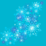 White snowflakes on a blue background. Vector pattern beautiful festive snowflakes on a blue background. Greeting card Stock Image