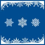 White snowflakes on blue background. Christmas flyer and winter vector card royalty free illustration