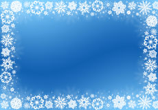 White snowflakes on blue - christmas frame Stock Image