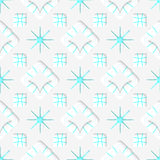 White snowflakes on blue flat ornament seamless. Abstract 3d seamless background. White snowflakes on blue flat ornament and out of paper effect Royalty Free Stock Photo