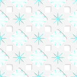 White snowflakes with blue inner parts seamless. Abstract 3d seamless background. White snowflakes with blue inner parts and out of paper effect Royalty Free Stock Photos