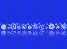 White snowflakes on blue with reflections Stock Photos