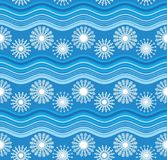 White snowflakes and blue waves. Pattern Vector Illustration