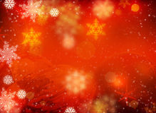 White snowflakes and Christmas decorations. Christmas background is. White snowflakes and Christmas decorations on a red background Stock Images