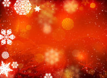 White snowflakes and Christmas decorations. Christmas background. White snowflakes and Christmas decorations on a red background Stock Images