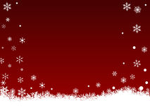 White SnowFlakes on Dark Red. Border of snowflakes on  a Dark Red background with Copyspace Royalty Free Stock Photo