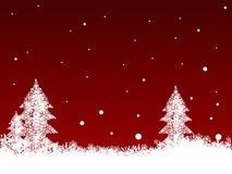 White SnowFlakes on Dark Red. Border of snowflakes and Christmas Trees on  a Dark Red background Royalty Free Stock Photo