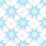White snowflakes and dots with blue top seamless. Abstract 3d seamless background. White snowflakes and dots with blue top and out of paper effect Royalty Free Stock Photography