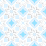 White snowflakes on flat blue ornament seamless. Abstract 3d seamless background. White snowflakes on flat blue ornament with out of paper effect Royalty Free Stock Photography