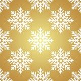 White snowflakes on Golden background seamless pattern Royalty Free Stock Photo