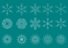 White snowflakes green background vector Royalty Free Stock Image