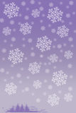 White snowflakes and little Christmas trees on. Picture of white snowflakes and little Christmas trees on blurred purple background. Vertical digital wintertime Stock Photos