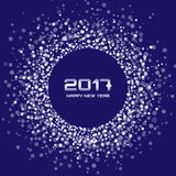 White snowflakes New Year 2017 circle frame on blue Background. Stock Photos